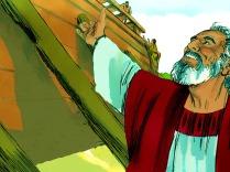 Ensemble, Noé et ses fils commencèrent à construire la grande boîte en forme de bateau.