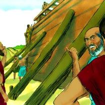 Les méchants qui les entouraient se demandèrent ce que Noé et ses fils faisaient.