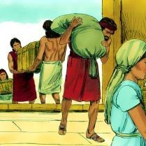 Genèse 7 Lorsque l'arche fut prête, Dieu dit à Noé que le déluge allait venir dans les 7 jours. Noé, ses trois fils et leurs épouses durent prendre leurs biens à bord. Ils stockèrent également la nourriture pour les animaux qui les accompagneraient.