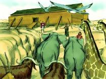 Sept paires d'animaux et oiseaux purs, un mâle et une femelle, entrèrent dans l'arche. Une paire d'animaux impurs fut également prise à bord (quelques exemples d'animaux impurs : les lézards, les taupes, les porcs, les hiboux, les souris, les furets et les corbeaux - voir Lévitique 11, Deutéronome 14).
