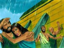 Dieu ferma ensuite la porte de l'arche et la pluie commença à tomber. Il plut pendant 40 jours; les rivières sortirent de leur lit, et la crue monta de plus en plus haut.