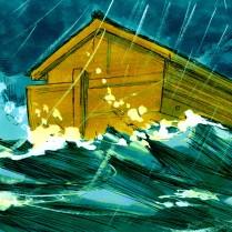 Comme les eaux montèrent, l'arche se mit à flotter.