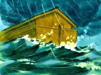 L'eau inonda la terre pendant 150 jours, mais les personnes à bord de l'arche furent préservées.