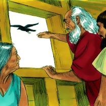 Après 40 jours, Noé lâcha un corbeau, mais il ne trouva nulle part où se poser.
