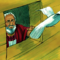 Puis il envoya une colombe. Elle vola à la recherche de terre ferme.