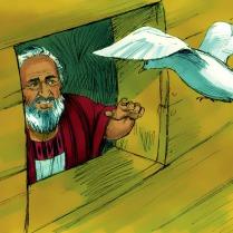 Mais elle ne trouva nulle part où se percher et retourna donc à l'arche. Noé étendit la main et la ramena dans l'arche.