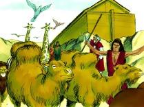Noé ôta le toit de l'arche et vit que la terre séchait. Deux mois plus tard, la terre fut assez sèche pour que Noé, sa famille et les animaux puissent quitter l'arche.