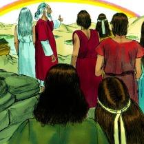 Dieu mit un arc-en-ciel dans les cieux. Dieu dit alors à Noé: « Cet arc-en-ciel est le signe de ma promesse de ne plus jamais inonder la terre entière. »