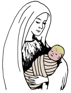 """""""(Marie) mit au monde son fils premier-né, et l'emmaillota, et le coucha dans une crèche, parce qu'il n'y avait pas de place pour eux dans l'hôtellerie."""" la Bible, Luc 2:7"""
